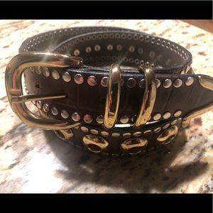 Studded brown brass heavy dress belt; gently worn